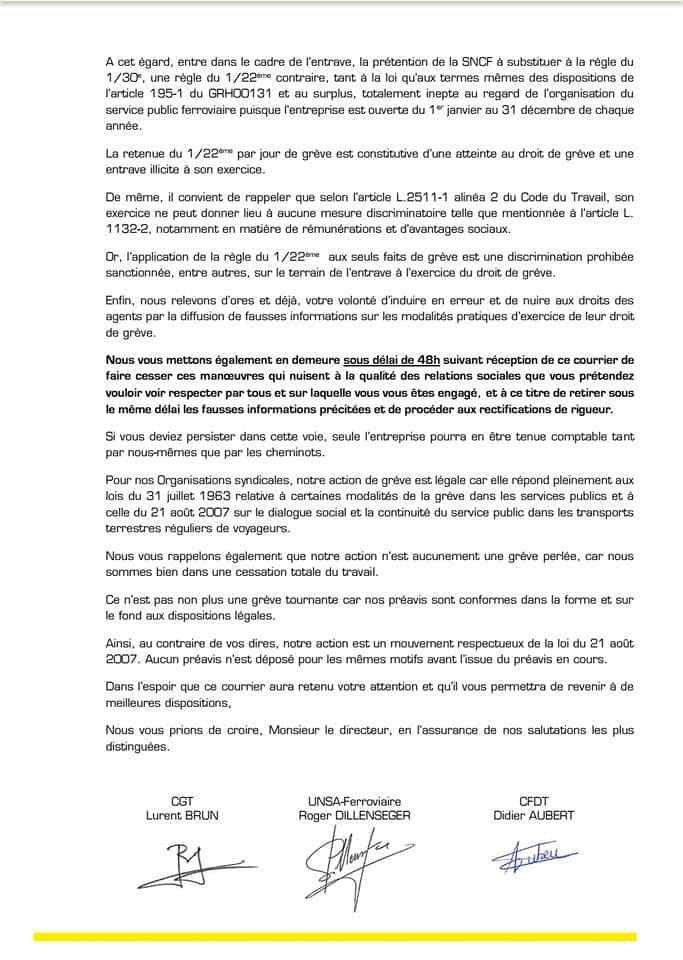 Mise en demeure unitaire faite à la Direction RH du GPF afin de faire cesser les manœuvres d'entrave à la grève !