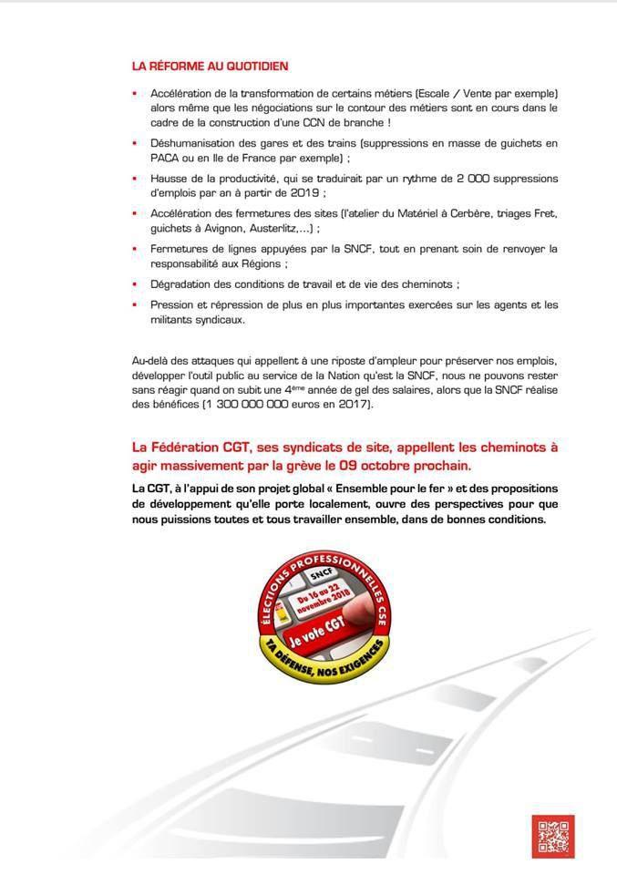 Préavis de grève GPF SNCF du 9 octobre 2018 et tract fédéral
