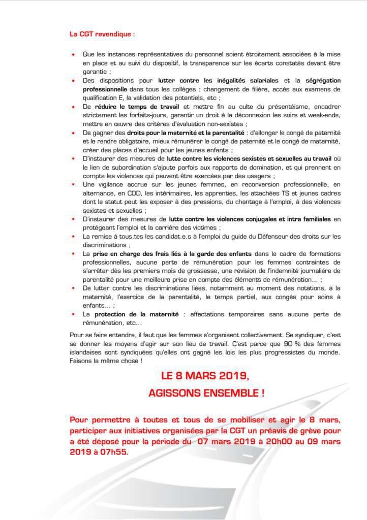 Tract aux cheminots pour le 8 Mars 2019 et tract de l'UD CGT Sarthe