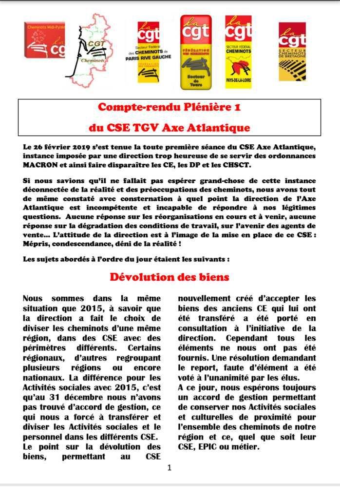 Compte rendu Plénière 1 du CSE TGV Axe Atlantique