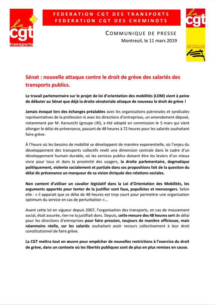 Sénat : nouvelle attaque contre le droit de grève  des salariés des transports publics
