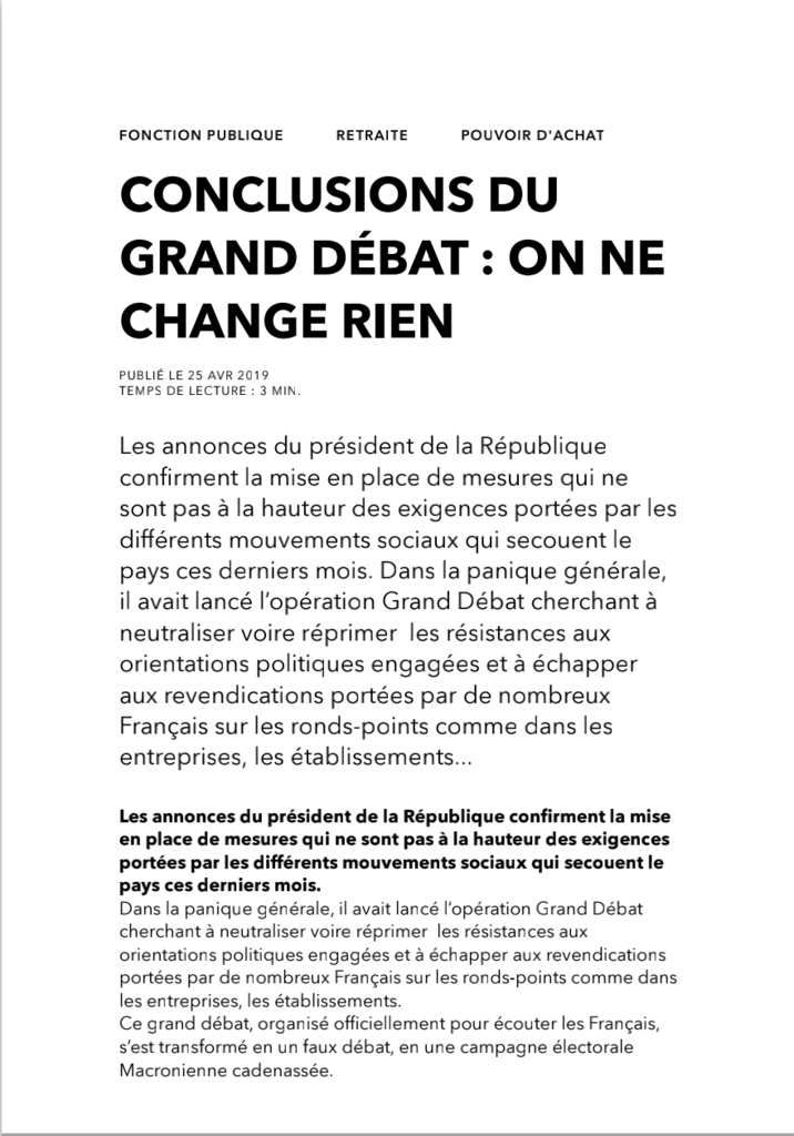 Conclusions du grand débat : on ne change rien