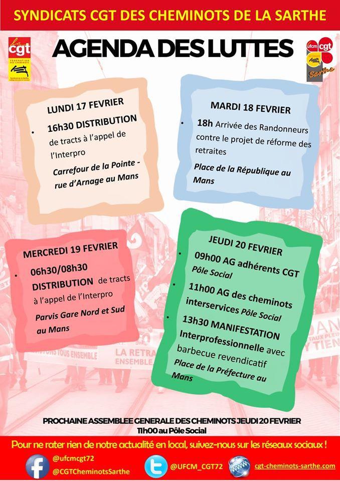 Agenda des luttes semaine du 17 au 21 Février 2020