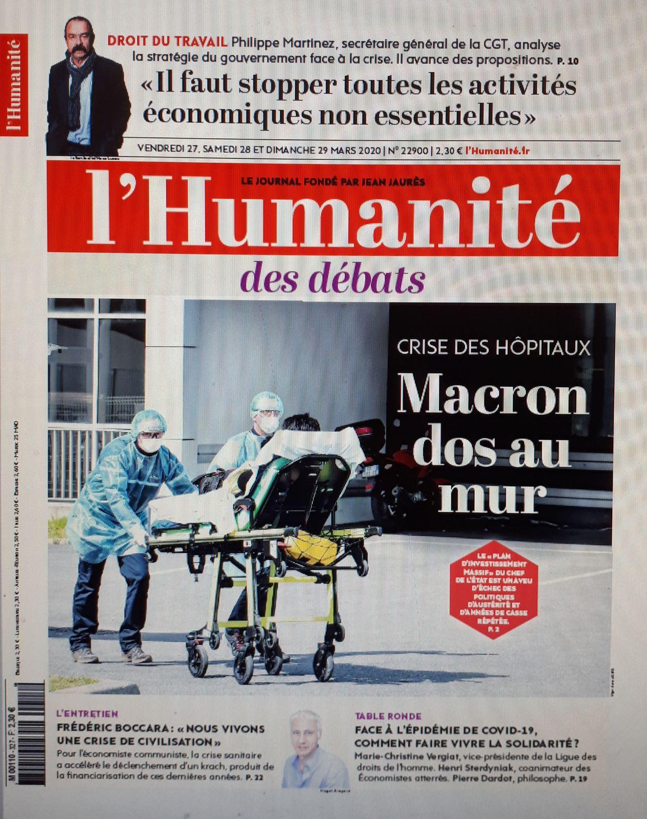 « Il faut stopper toutes les activités économiques non essentielles » P.Martinez dans l'Humanité du 27/03/20