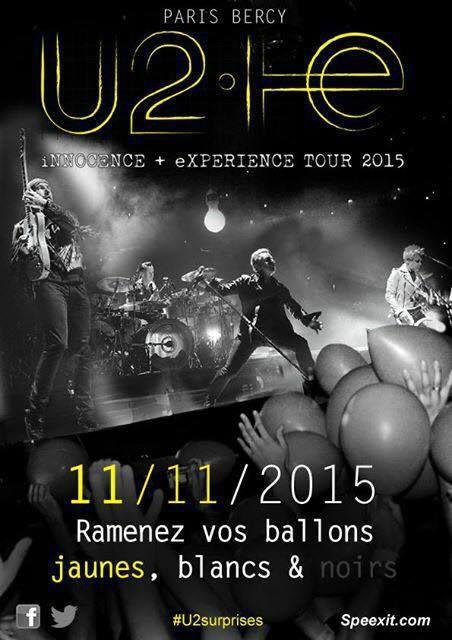 U2 Surprise pour chaque date à Paris 10/11/14/15/2015