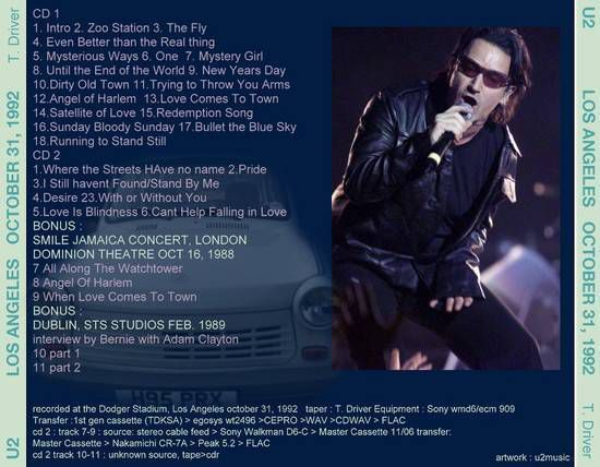 U2 -ZOO TV Tour -31/10/1992 -Los Angeles -USA -Dodger Stadium #2