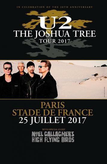 U2 -Affiche Concert -Paris -Stade De France 25-07-2017