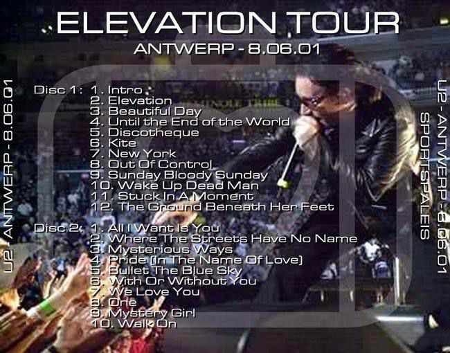 U2 -Elevation Tour -06/08/2001 -Anvers  Belgique - Sportpaleis #2