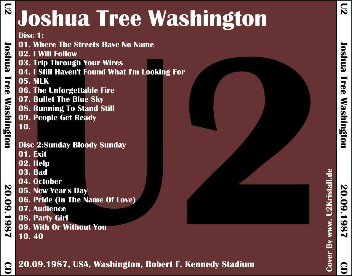 U2 -Joshua Tree Tour -20/09/1987 -Washington -USA - Robert F. Kennedy Stadium