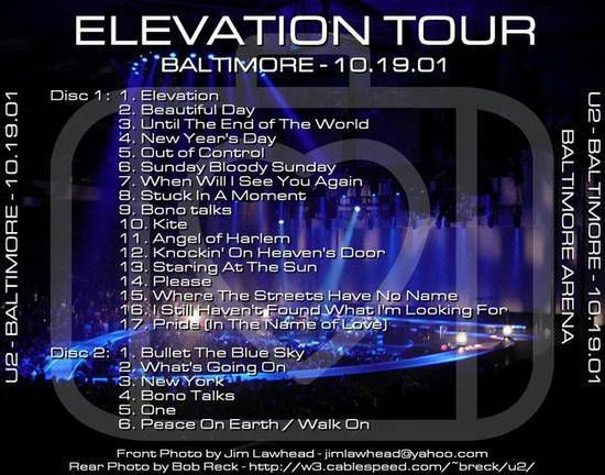 U2 -Elevation Tour -19/10/2001 -Baltimore ,USA -Arena