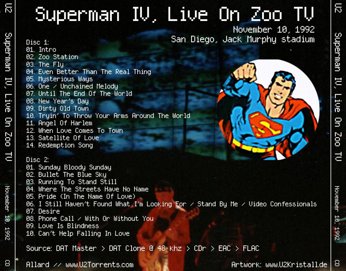 U2 -ZOO TV Tour -10/11/1992 -San Diego USA- Jack Murphy Stadium