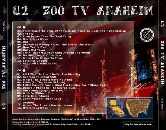 U2 -ZOO TV Tour -14/11/1993 -Anaheim USA -Anaheim Stadium