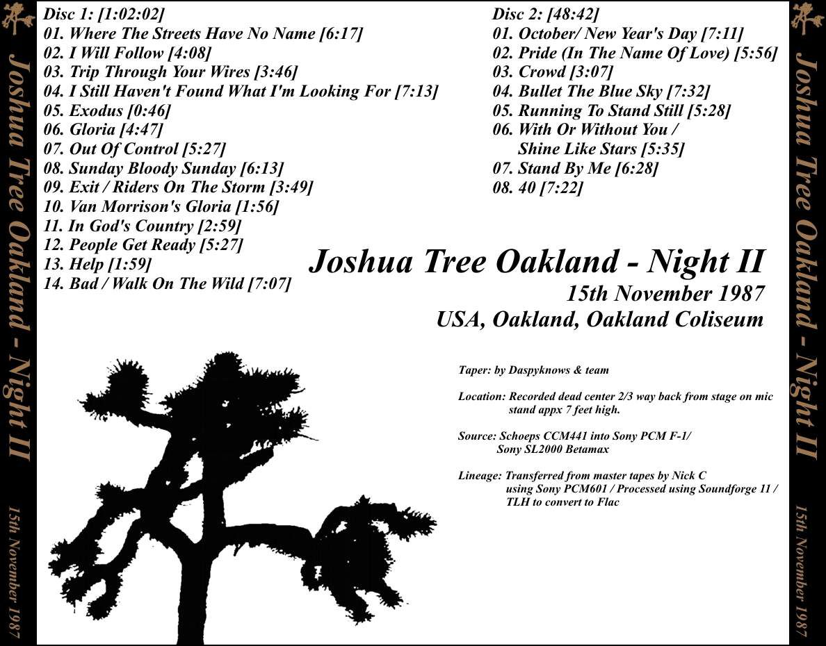 U2- Joshua Tree Tour -15/11/1987 -Oakland USA-Oakland-Alameda County Stadium #2