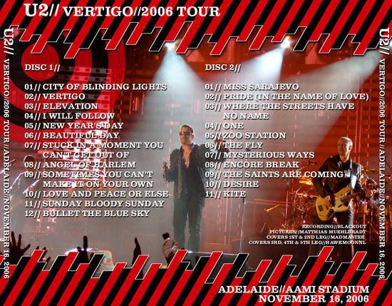 U2 -Vertigo Tour -16/11/2006 -Adelaide  Australie- AAMI Stadium