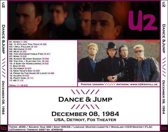 U2 -Unforgettable Fire Tour -08/12/1984 Detroit  USA - Fox Theater
