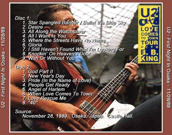 U2 -Lovetown Tour -28/11/1989 -Osaka Japon -Osaka Castle Hall #1