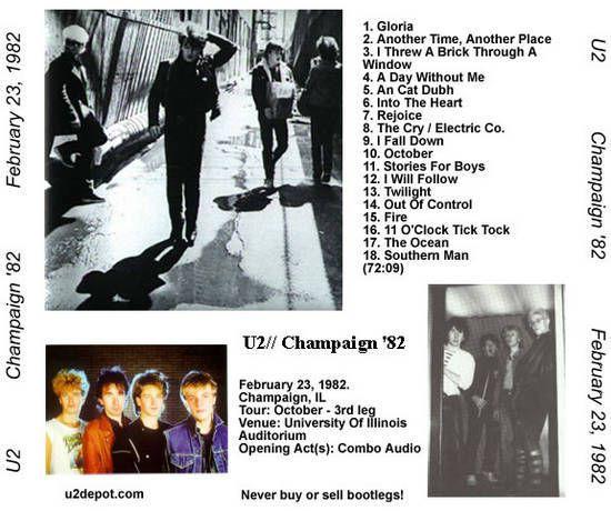 U2 -October Tour -23/02/1982 -Champaign  USA - University Of Illinois Auditorium