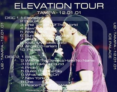 U2 -Elevation Tour -01/12/2001 -Tampa  USA - Ice Palace