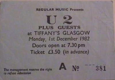 U2 -Pre-War Tour  -01/12/1982 -Glasgow -Ecosse -Tiffany's