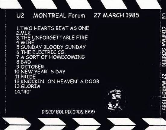 U2 -Unforgettable Fire Tour -27/03/1985 Montreal -Canada -The Forum