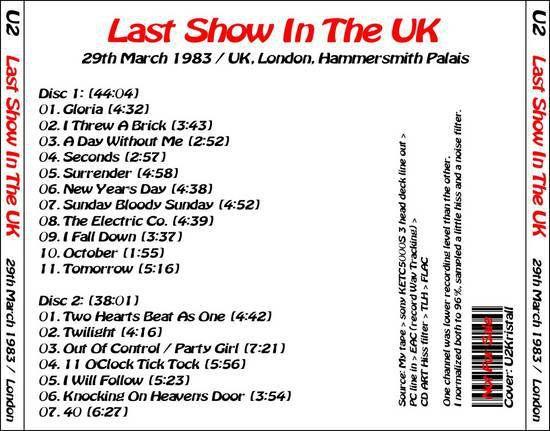 U2 -War Tour -29/03/1983 -Londres -Angleterre- Hammersmith Palais