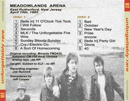 U2 -Unforgettable Fire Tour -15/04/1985 -East Rutherford -USA - Brenden Byrne Arena