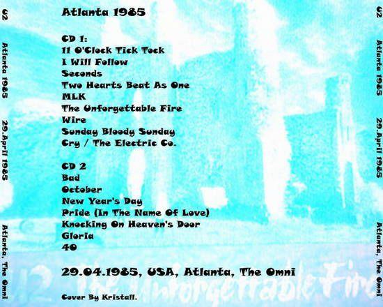 U2 -Unforgettable Fire Tour -29/04/1985 -Atlanta  USA - The Omni