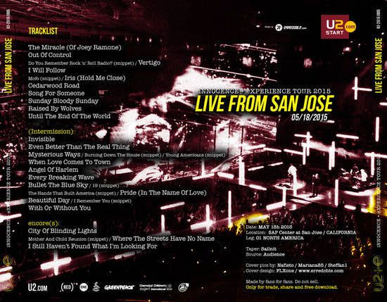 U2 -Innocence + Experience Tour -18/05/2015 -San Jose - Etats-Unis- SAP Center