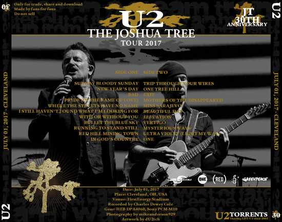 U2 -Joshua Tree Tour 2017 -01/07/2017 -Cleveland - Etats-Unis - First Energy