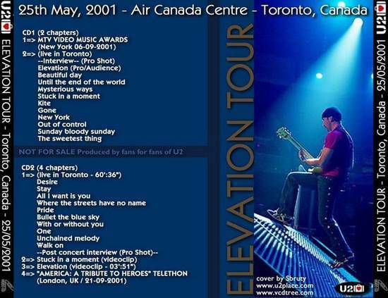 U2 -Elevation Tour -25/05/2001 -Toronto -Canada - Air Canada Centre