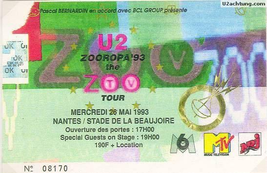 U2 -ZOO TV Tour -26/05/1993 -Nantes -France -Stade De La Beaujoire