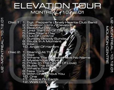 U2 -Elevation Tour -12/10/2001 -Montreal -Canada - Molson Centre