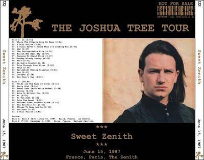 U2 -Joshua Tree Tour -15/06/1987 -Paris  -France -Le Zenith