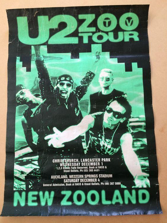 U2 -Affiche Concert -Lancaster Park -Nouvelle-Zélande -01/12/1993