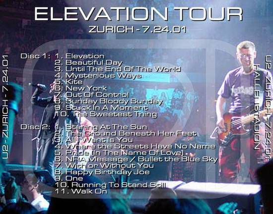 U2 -Elevation Tour -24/07/2001 -Zurich -Suisse  -Hallenstadion #2