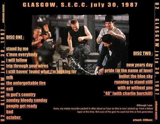 U2 -Joshua Tree Tour -30/07/1987 -Glasgow -Ecosse -Scottish Exhibition Centre