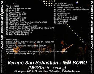 U2 -Vertigo Tour -09/08/2005 -San Sebastien -Espagne -Estadio Anoeta
