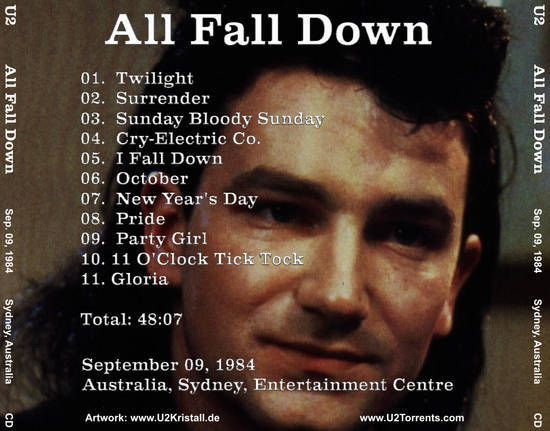 U2 -Unforgettable Fire Tour -09/09/1984 -Sydney -Australie - Entertainment Center