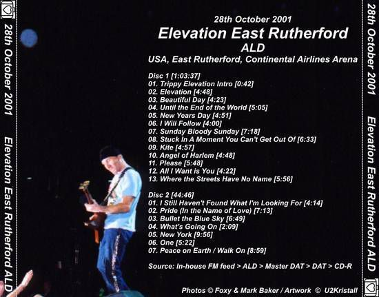 U2 -Elevation Tour -28/10/2001-East Rutherford -USA -Continental Arena