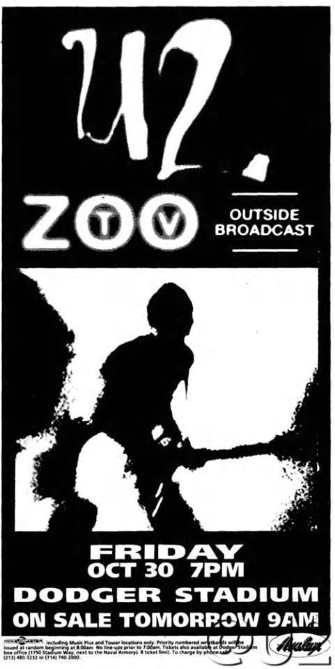 U2 -Affiche Concert -Los Angeles USA 30/10/1992 -Dodger Stadium