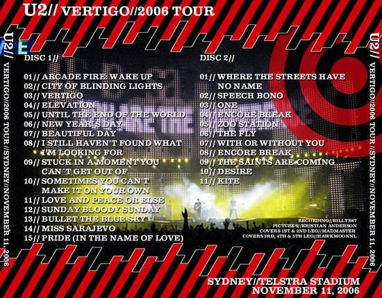 U2 -Vertigo Tour -13/11/2006 -Sydney -Australie -Telstra Stadium #3