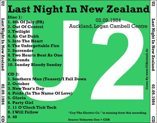 U2 -Unforgettable Fire Tour -02/09/1984 -Auckland -Nouvelle-Zélande -Logan Cambell Centre