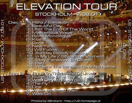 U2 -Elevation Tour -09/07/2001 -Stockholm -Suède -Globen