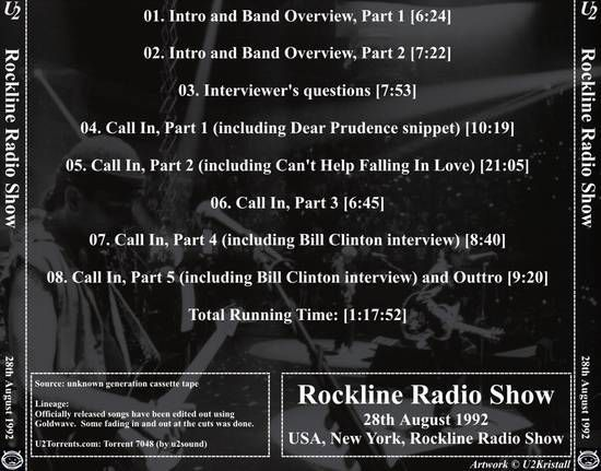 U2 -Emission de radio 'Rockline' -New York -États-Unis -28/08/1992