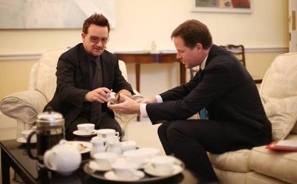 Bono et le Premier ministre Nick Clegg -Londres -Angleterre -11/10/2012