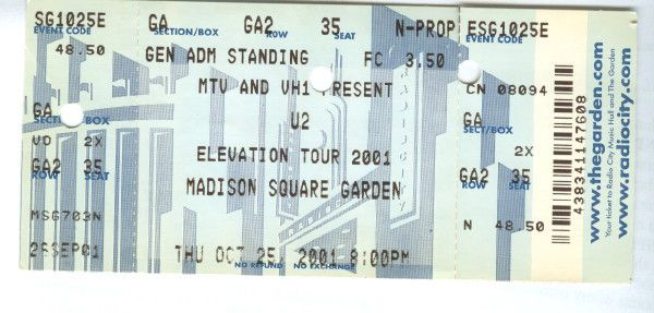 U2 -Elevation Tour -25/10/2001 -New-York USA ,Madison Square Garden #2