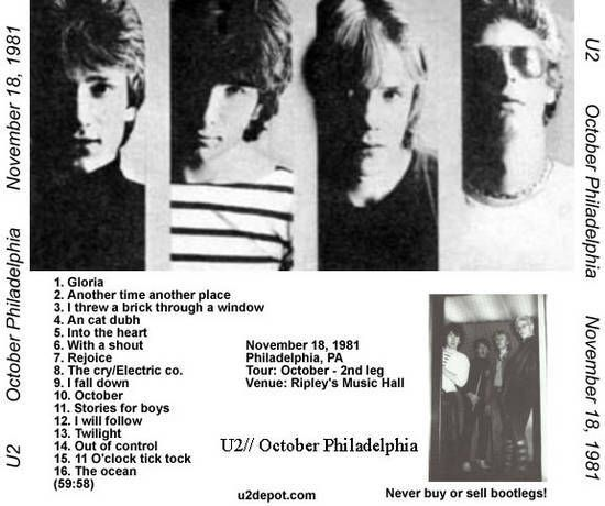 U2 -October Tour 18/11/1981 -Philadelphie -USA -Ripley's Music Hall
