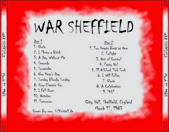 U2 -War Tour -17/03/1983 -Sheffield  Angleterre -City Hall