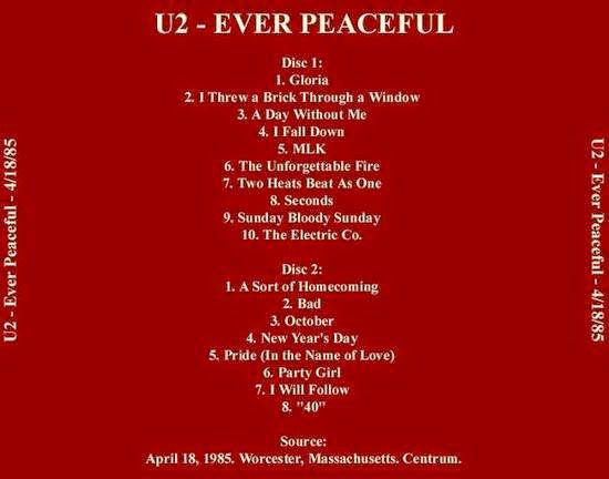 U2 -Unforgettable Fire Tour -18/04/1985 -Worcester -USA -The Centrum #1