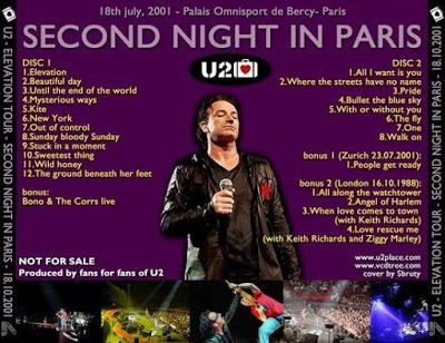 U2 -Elevation Tour -18/07/2001 -Paris -France- Palais Omnisports De Paris Bercy #2